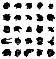 Animal jaws silhouettes set vector