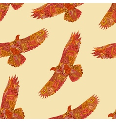 Seamless decorative tribal pattern with eagles vector