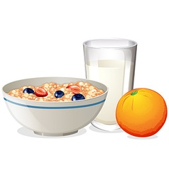 Breakfast with oatmeal and orange vector