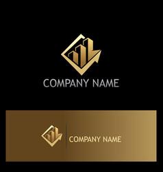 Business arrow building gold logo vector