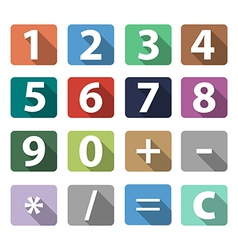 calculator buttons in flat design with long shadow vector image vector image
