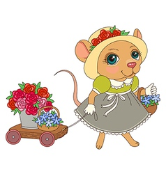 Cartoon mouse flowers vector