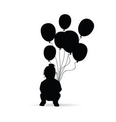 Child silhouette with balloon in black vector