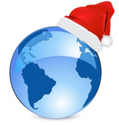 Christmas blue earth vector image