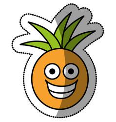 Colorful kawaii fruit pineapple happy icon vector