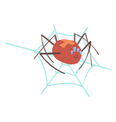 Cute cartoon spider character in a web vector