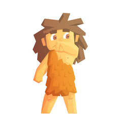 Cute cave girl dressed in animal skins stone age vector