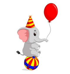 Cute circus elephant with a striped ball vector