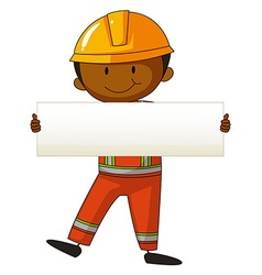 Engineer holding white board vector image vector image