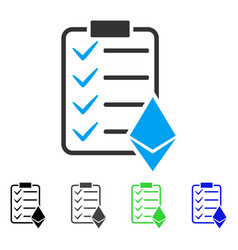 Ethereum smart contract flat icon vector
