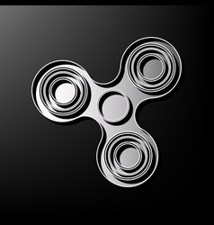 Fidget spinner sign gray 3d printed icon vector