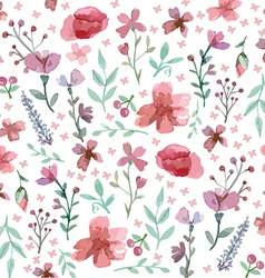 Flowers and leaves pattern vector