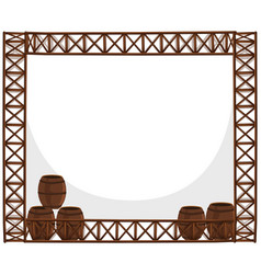 frame design with wooden barrels vector image vector image