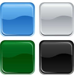 Glossy web square buttons vector image