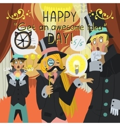 Happy Get Awesome Idea Day greeting card vector image vector image