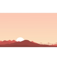 Mountain and bridge landscape of silhouettes vector