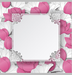 oriental pattern frame with pink lotus flowers vector image
