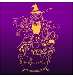 Purple backgrounds halloween doodle art vector