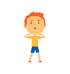 Redhead boy doing sport exercise kids physical vector