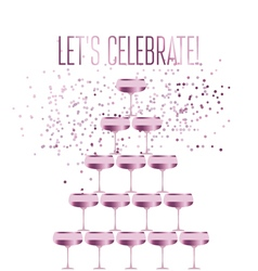 Rose sparkling champagne glass pyramid flat vector