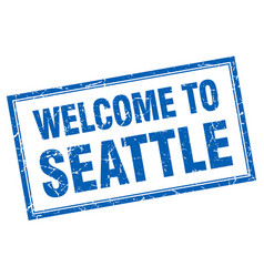 Seattle blue square grunge welcome isolated stamp vector