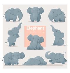 Set of elephant family vector