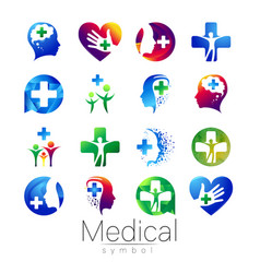Set of medical sign with cross inside vector