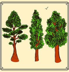 Sketch trees set in vintage style vector image