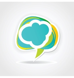 Speech cloud bubble Green background vector image vector image