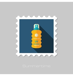 Sun Cream in Spray flat stamp Summer Vacation vector image