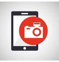 tablet hand hold with camera picture vector image