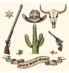 Wild west elements vector