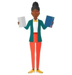 Woman choosing between book and tablet vector image