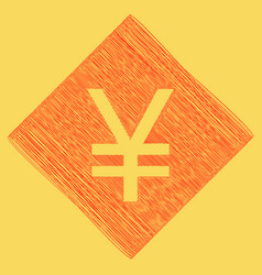Yen sign red scribble icon obtained as a vector