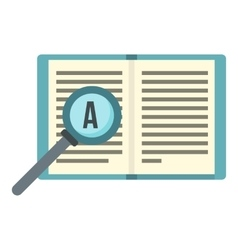 Magnifier and book icon flat style vector