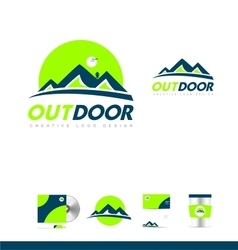 Mountain blue green logo icon design vector