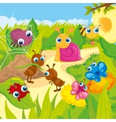 Cute small animals meadows vector
