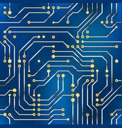 Computer microchip seamless pattern on blue vector