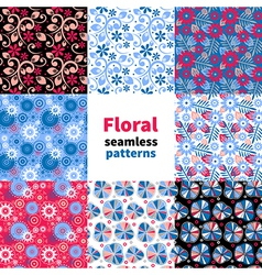 Abstract floral seamless pattern set vector