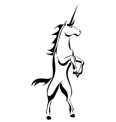 Black silhouette tattoo a rearing unicorn vector