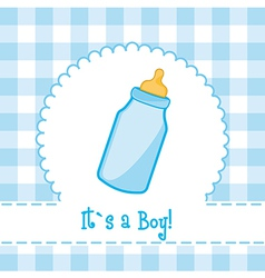 Its a boy card with bottle baby baby shower vector