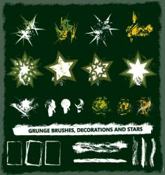 grunge brush and decoration set vector image