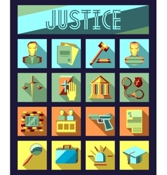 Set of law and justice flat icons with lawyer vector