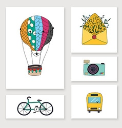 Cards with travel hand draw objects balloon bike vector