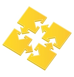 puzzle pieces with arrows vector image