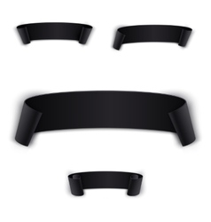 Set black realistic curved ribbon vector