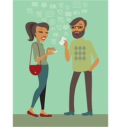 Couple using smartphones vector