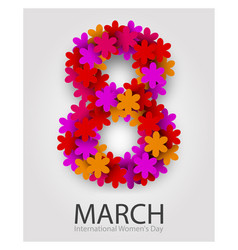8 march beautiful flower number red floral vector