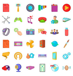 Application for gadget icons set cartoon style vector