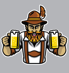 Bearded bavarian man holding a couple of beer vector